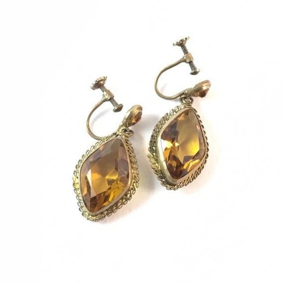 Vintage Czech Topaz Glass Dangle Earrings Art Deco