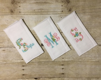Burp cloth set, Monogram & Flowers theme #2