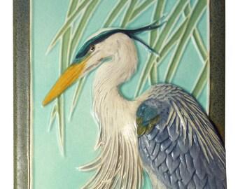Ceramic sculpture, Great Blue Heron 4x8 inches