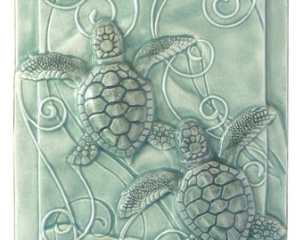 Home decor, art tile, Magic in the Water, baby sea turtles