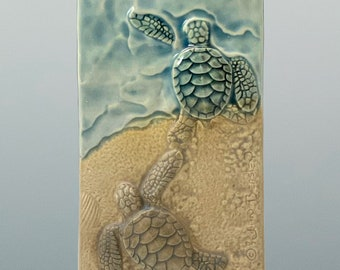 6 wide  x 15 tall Moon Into Sea Ceramic Art Tile Wall Sculpture