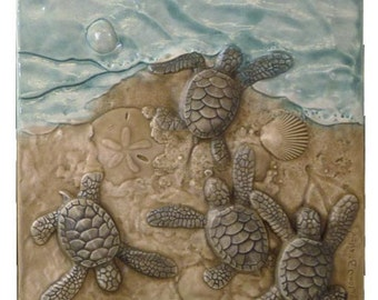 Art tile, There's one in every crowd, 6x 6 inches, sculpted  Baby Green sea turtles