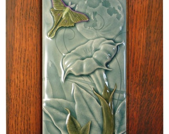 Framed Luna, ceramic tile, home decor, wall art, art tile, 4 x 8 inches