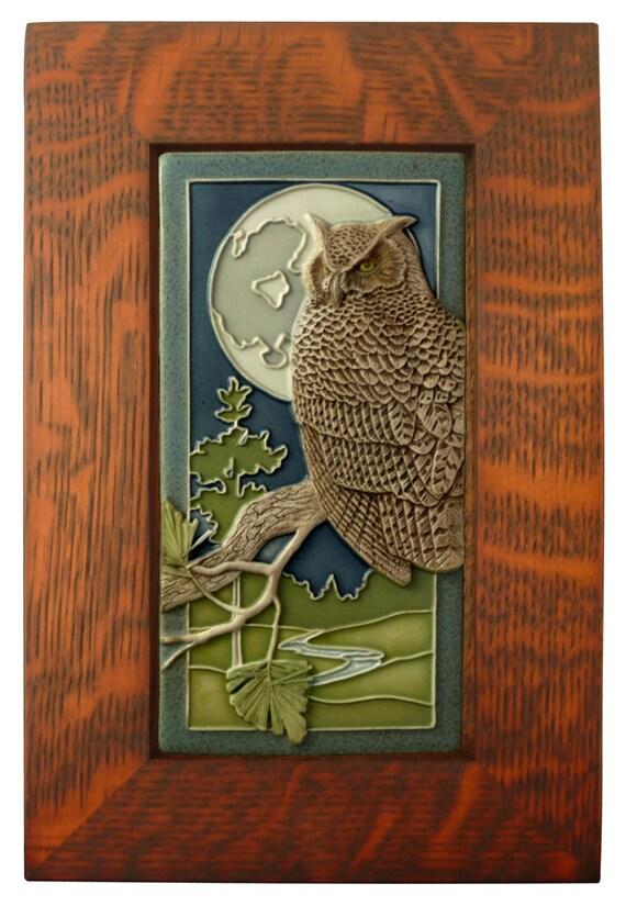 Framed Ceramic tile Night Owl art tile wall decor | Etsy