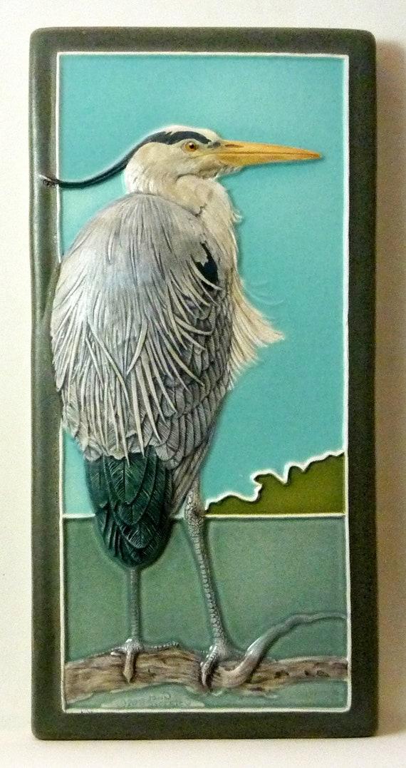 Fine Art Ceramic Tile John Beasley Animal Art Tile Heron Etsy
