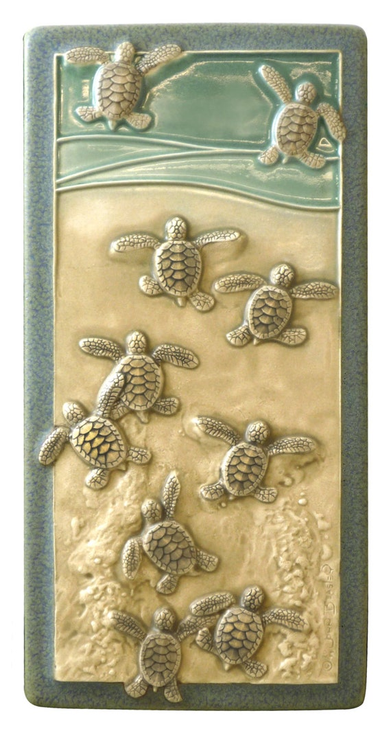 Art tile Ceramic wall art Leaving the Nest 4x 8 inches