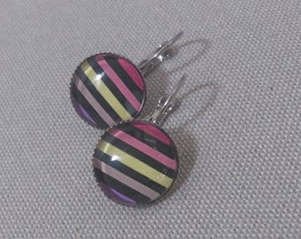 Earrings sleepers silverplate multicolored striped glass cabochon