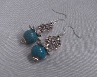 Silver ceramic beads blue earrings