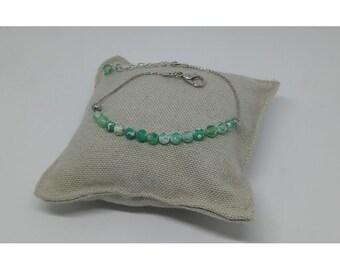 Bracelet fine green Agate stone