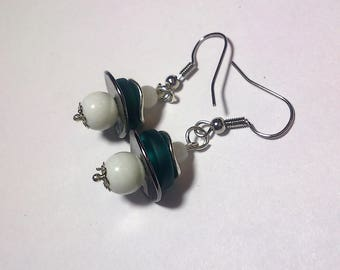 Blue glass pearls and metal rondelle earrings