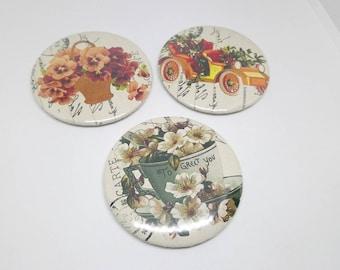 Set of 3 magnets 56mm vintage retro flowers