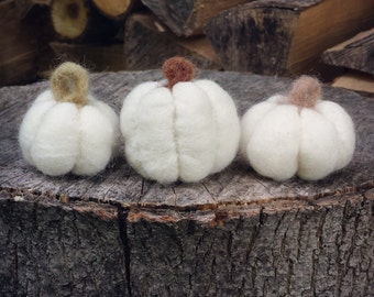 Set of 3 Tiny Needle Felted White Pumpkins / Gourds