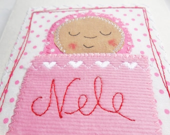 Congratulations card for birth with desired name - pink