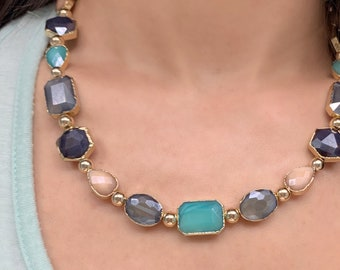Green Peach Beaded Statement Necklace Sparkly Shiny Glass Crystal Boho Matching Set Colorful Grey Gift for Her Gold