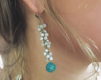 Boho Cascade Dangle Earrings, Silver, Turquoise, Mother of Pearl Earrings