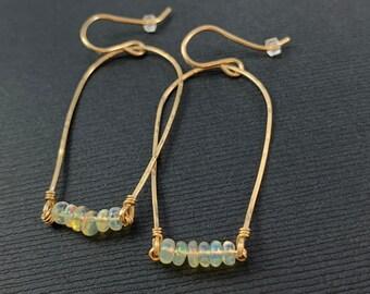 Minimalist Opal Dangle Earrings, 14K Gold Fill Minimal Drop Beaded Statement Earrings, Simple, Dainty, Well Opal Gemstones, Gift