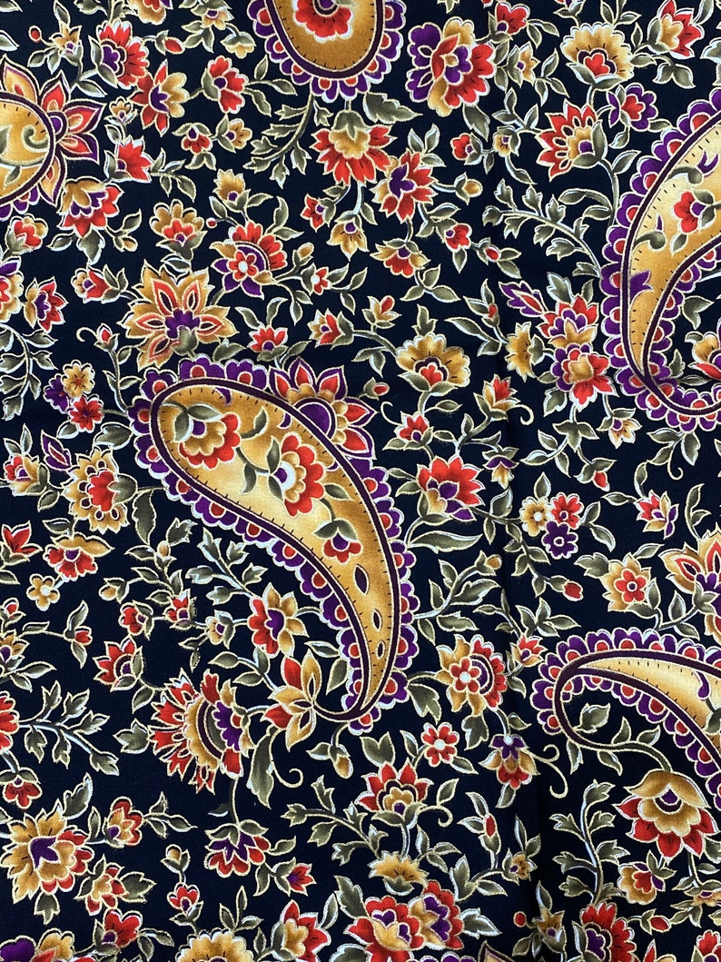 Fabric 1 yard Royal Windsor by Timeless Treasures for quilting patchwork and sewing crafts paisley Jacobean purple red gold flowers on black