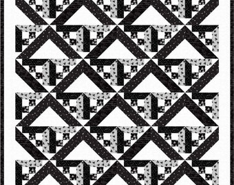 Black Gray White Quilt Pattern PDF Downloadable geometric arrows digital modern squares strips triangles shadows