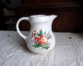 Italian PAGNOSSIN TREVISO ITALY ironstone carafe pitcher jug vase. Kitchen, garden traditional floral rustic chabby chic decor