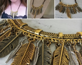 Many Feathers Statement Necklace, Feather Charm Necklace, Bib Necklace