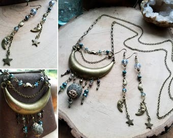 Long Bronze Crescent Moon Necklace, Moon Necklace, Boho Celestial Necklace, Bronze Moon Sweater Necklace, Large Moon, Celestial Jewelry