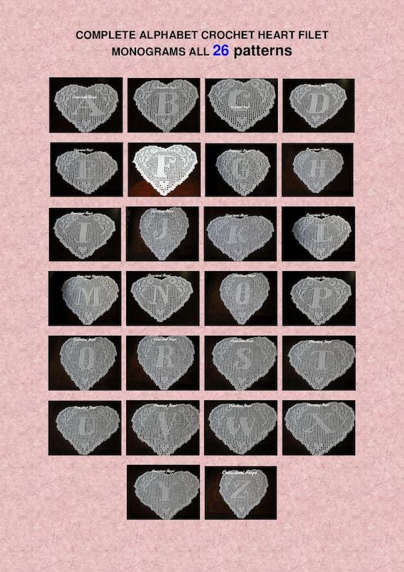 26 Pattern Crochet Doily Filet Schema Alphabet Complete Cuore Etsy