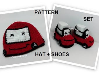 PATTERN Set Crochet Baby Car  Shoes and hat / Booties/ Hat /Size 0-12 Months/Tutorial/Instant Download /Permission sell finished item