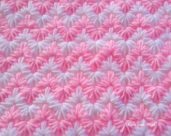 Crochet PATTERN Baby Blanket/crochet zig zag puff  stitch/ Tutorial /crochet zigzag blanket/ PATTERN 808/ Permission to sell finished items.