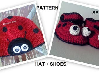 PATTERN Set Crochet Baby Ladybug Shoes and hat / Booties/ Hat /Size 0-12 Months/Tutorial/Instant Download /Permission sell finished item