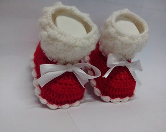 PATTERN CROCHET Baby SHOES Crochet Baby Christmas  Booties Slippers Shoes 4 size Crochet Chistmas booties baby shoes