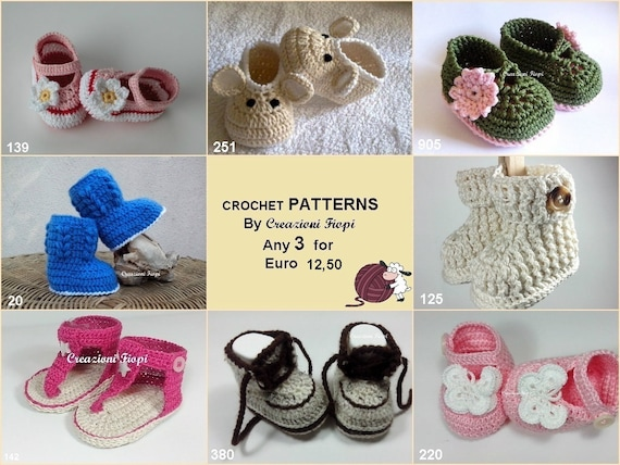 Häkelanleitungen Sie Babyschuhe häkeln Wahl 3/Muster/Foto | Etsy