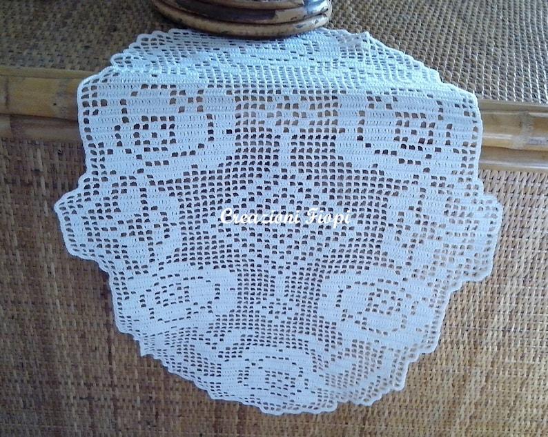 Pattern Crochet Filet Schema Centrino Centro Ovale Con Rose Etsy