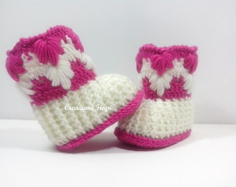 Crochet Pattern: Baby Booties Puff Aloe stitch Crochet Baby UGG Crochet Shoes (Baby Size 0-3 Months ) Permission to Sell Finished Product