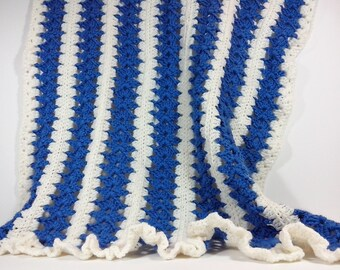 Crochet Blanket Pattern Baby /blue edge ruffled/ Tutorial Instant Download / PATTERN 182/ Permission to sell finished items.