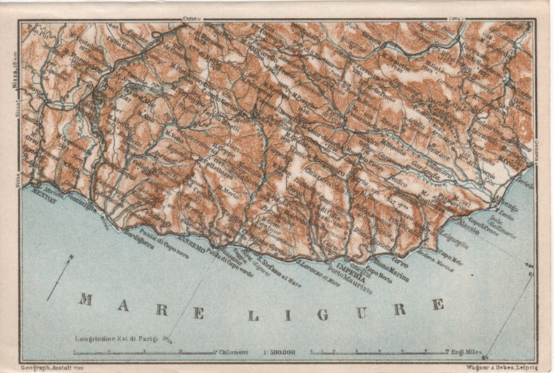Carte Italie Ligurie.1931 Ligure Riviera Carte Carte Ancienne Lithographie Etsy