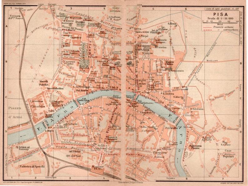 Pisa Karte.1916 Stadt Pisa Karte Italien Antique Map Jahrgang Lithographie Toskana Toskana Italien Fluss Arno Piazza Del Duomo Schiefen Turm Italienisch
