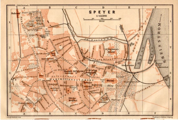 1909 Speyer Map Germany Antique Map Vintage Lithograph Etsy
