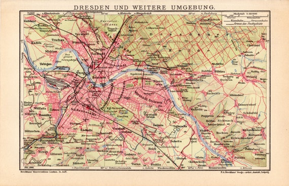 1908 Dresden Germany Antique Map Dresdener Heide Altstadt Etsy