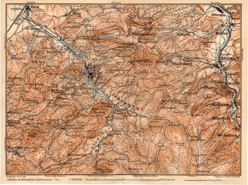 Map Of Germany Karlsruhe Baden.1909 Baden Baden Map Germany Baden Wurttemberg Karlsruhe Deutschland Black Forest Schwarzwald Lichtenthal Gernsbach Antique Map