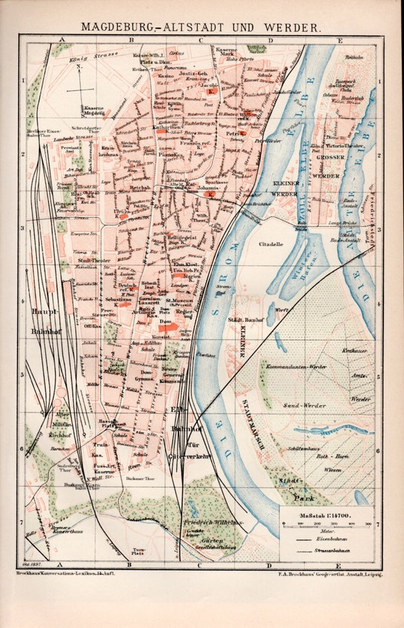 1898 Magdeburg Old Map Antique Print Vintage Lithograph Etsy