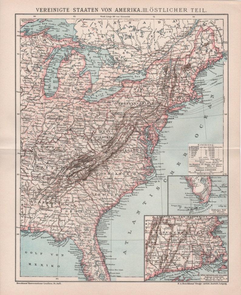 1898 United States Map Florida Georgia Virginia New York | Etsy