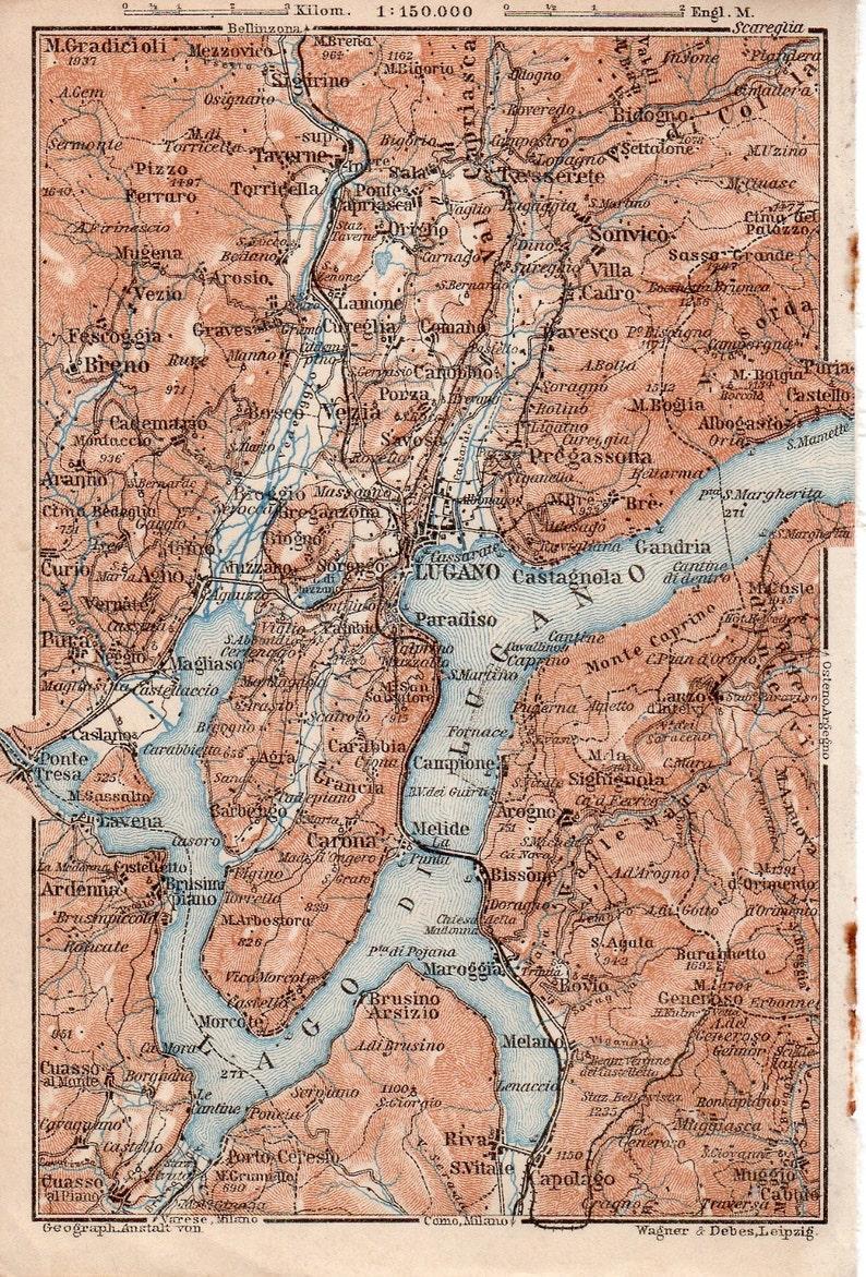 Lago di Lugano 1905 old antique print picture ITALY Lake Lugano Morcote