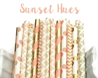 SUNSET HUES  Flower, Peach, Gold Paper Straws, Party Decor, Garden Party, Shower, Birthday Baby Shower, Bridal, Wedding, Coral and Gold
