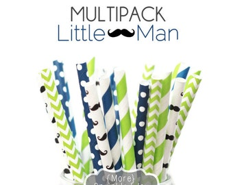 Paper Straws, LITTLE MAN Multipack, Green, Blue, Mustache, Chevron, Dots, Stripes, 25 Straws, 5 Designs, Boy, Birthday, Movember, Party