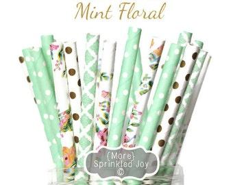MINT FLORAL Flower & Gold Paper Straws, Party Decor, Cake Pops, Vintage, Mint, Tea Party, Shower, Birthday, Baby Shower, Bridal, Wedding