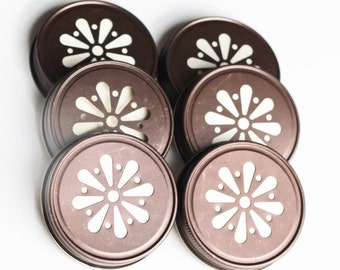 SALE Bronze Mason JAR LIDS Six Daisy Flower Cut, Rustic Bronze Finish, with Removable Pulp Liner, Made in the America