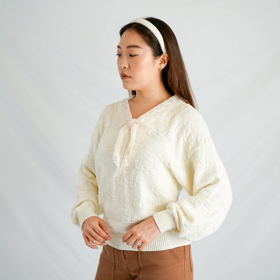 Vintage Lace Collar Sweater - image 1