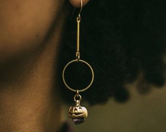 Halloween Pumpkin Queen Earrings with Amethyst or Herkimer Diamonds / Dangle Drop Earrings with Vintage Brass or Silver