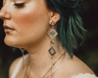 Artemis Earrings with Labradorite and Star Studs / Bridal Line