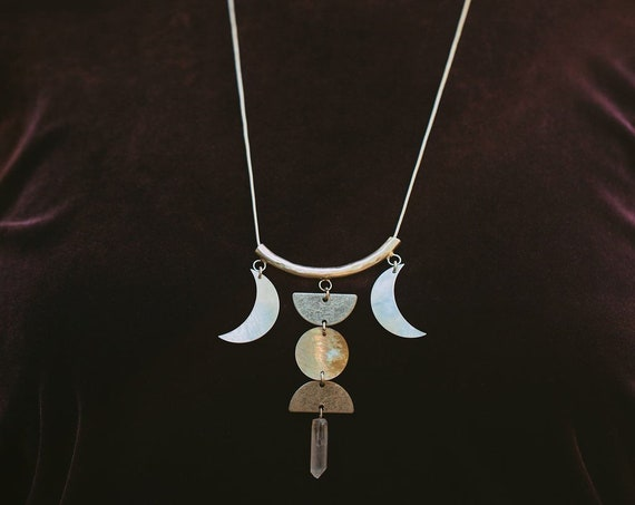Entranced Silver or Bronze Necklace with Mother of Pearl Moons and Quartz Crystal / Tennessee Witch Collection